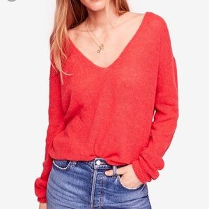 Free People Gossamer V-neck Alpaca Wool Sweater